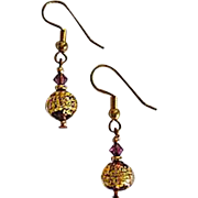 GORGEOUS Venetian Art Glass Earrings, 24k Gold Foil Lampwork Murano Glass Beads, Mauve Purple