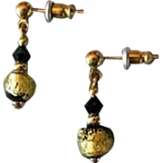 STUNNING Venetian Art Glass Earrings, Black & 24K Gold Foil Murano Glass Beads