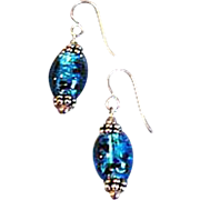 DAZZLING Turquoise Czech Art Glass Earrings, Rare 1970's Czech Silver Foil Glass Beads