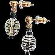 MOD Czech Art Glass Earrings, RARE 1960's Czech Glass Beads, Tiger Stripe Beads