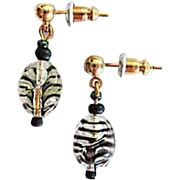 MOD Czech Art Glass Earrings, RARE 1960's Czech Glass Beads, Tiger Stripe Beads