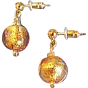 GORGEOUS Pink Venetian Art Glass Earrings, 24K Gold Foil Murano Glass Beads