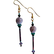 MOD Purple Czech Art Glass Earrings, RARE 1960's Czech Pressed Glass Beads