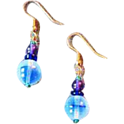 STUNNING Blue German Art Glass Earrings, RARE 1950's West Germany Glass Beads, Opalescent Beads
