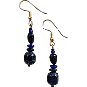STUNNING Blue Czech Art Glass Earrings, RARE 1940's Czech Glass Beads