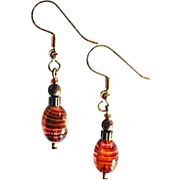 MOD Czech Art Glass Earrings, SCARCE 1960's Czech Glass Beads, Pink, Amber Stripes
