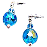DAZZLING Austrian Crystal Glass Earrings, RARE 1950's Austrian Crystal Beads