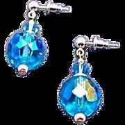 DAZZLING Austrian Crystal Glass Earrings, RARE 1950's Austrian Crystal Beads