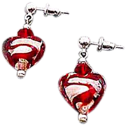 GORGEOUS Venetian Art Glass Earrings, Silver Foil Hearts, Red Swirl Murano Glass Heart Beads