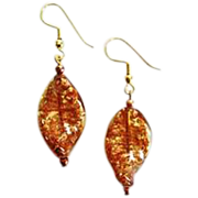 DAZZLING Aventurine Venetian Art Glass Earrings, Aventurina Murano Glass Beads