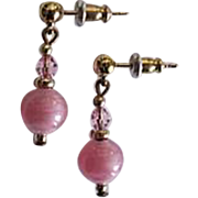 STUNNING Art Deco Venetian Art Glass Earrings, RARE 1930's Venetian Pink Satin Glass Beads