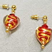 Elegant Venetian 24K Gold Foil Art Glass Earrings – Hearts & Red Swirl