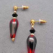 Fabulous Red & Black Art Glass Earrings w/ RARE 1940's Vintage German Beads