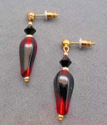 Fabulous Red & Black Art Glass Earrings w/ RARE 1940's Vintage German Beads