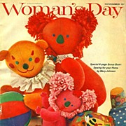 Christmas Gifts November 1963 Woman's Day Magazine - Holiday / Little Women Dolls / Stuffed Bears & Toys