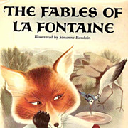 RARE 1957 1st Ed 'Fables of La Fontaine' DJ 'Lithograph Art - Original French Fairy Tales in English  /  Vintage