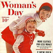 February 1960 Woman's Day Magazine, Advertising, Fashion, Home Decor, Recipes, Vintage
