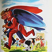 1954 'SkyJets For Fliers of Tomorrow' RARE First Edition, Lithograph Art, Jetpacks, Out-Of-Print, Flying Suits