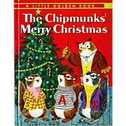 "1959 'The Chipmunks' Merry Christmas' Little Golden Book ""A"" First Printing, Richard Scarry Early Illustrations"
