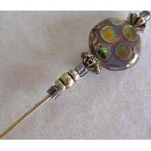 Gorgeous Art Deco Venetian Glass Stick Pin, RARE 1930's Glass Art Deco Venetian Bead