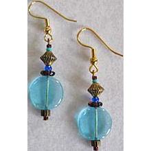 Mod Aqua Czech Art Glass Earrings, RARE 1960's Czech Glass Beads