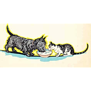 1935 'Topsy AND Angus and the Cat', Marjorie Flack, Stated First Edition, Scottie Dog, RARE Two Books in One