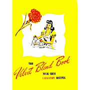 RARE 1940's Velvet Blend Cookbook 'Carnation Milk' Lithograph Illustrations, Advertising, Recipes, Cookies, Cakes, Desserts, Original Vintage Publication