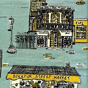 1960's Parisian Prints NEW ORLEANS Dish Towel – Suzanne Meister Designer / Unused / RARE