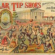 Antique 1800's Victorian Trade Card 'Solar Tip Shoes' Lithograph – Advertising  /  Ephemera