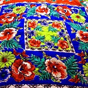 WOW 1940's 100% Silk Scarf  'Hand Screened' Floral Pattern - Women's Vintage Blue, Red, Multi Color GORGEOUS