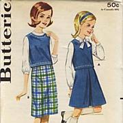 1950's Butterick # 2825 Sub-Teens Skirt & Blouse, Size 12 - Bust 30 / UNCUT /  Vintage / Retro