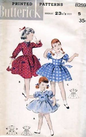 1940's Butterick #8259 Girls' Basque Dress Size 5, UNCUT, Retro - Vintage Printed Pattern, Bust 23 1/2, Children