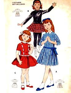 Retro 1940's Butterick #8686 Girls' Dress & Hat Size 6 - Bust 24 UNCUT Vintage Printed Pattern / Children