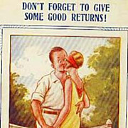 Collector's 1920's 'Tennis Comic' Bamforth Postcard 'Humor' - Couple Kissing on Tennis Court Illustration