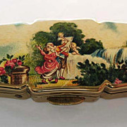 Vintage Stratton Goldtone Pill Box 'Signed'  Made in England - Romance Scene, Cherub, Cupids, Couple Kissing