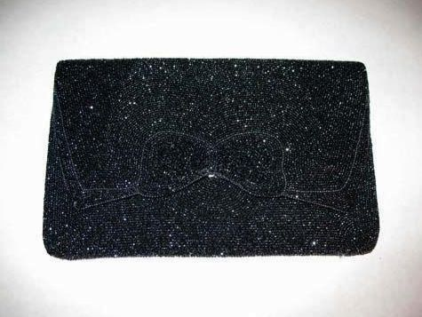 DESIGNER 1940's Saks Fifth Avenue Evening Bag, Authentic - Gunmetal Hand Beaded in Belgium, Clutch RARE
