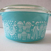 Pyrex Butterprint Amish 1 Qt Oven Casserole - Cinderella Handles, 473, Made in USA, Glass Lid, Bowl