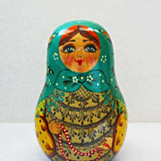 1993 Vintage Signed Roly Poly Doll, Hand Painted Russian Toy, Babushka,Matryoshka Style, Weeble Wobble