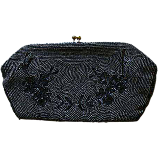 DESIGNER 1940's Jorelle Evening Bag, Authentic - Gunmetal Hand Beaded in Belgium, Clutch RARE