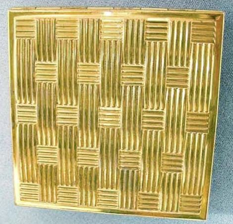 1950's ZELL Fifth Avenue Goldtone Compact, SCARCE - Unused Powder Puff, Vintage