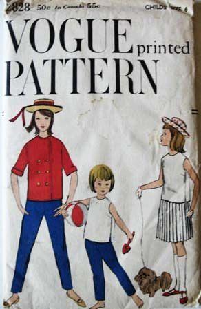 1958 Vogue #2828 Girls' Size 6, Bust 24, UNCUT - Jacket, Blouse, Skirt, Pants, Printed Pattern