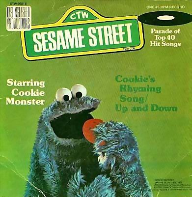 "1976 Sesame Street Cookie Monster 7"" 45 Vinyl Record, Cookie's Rhyming Song, Muppets Children's Classics, Television, Vintage"