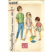 1950's Simplicity #4458 Girls' Shirt & Pant, Size 12, UNCUT, Retro, Vintage Printed Pattern, Children