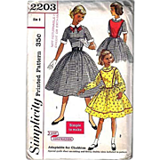 1950's Simplicity #2203 Girls' Dress, Size 8, Bust 26, UNCUT, Retro, Vintage Printed Pattern, Plastron, Detachable Collar, Bow - Red Tag Sale Item