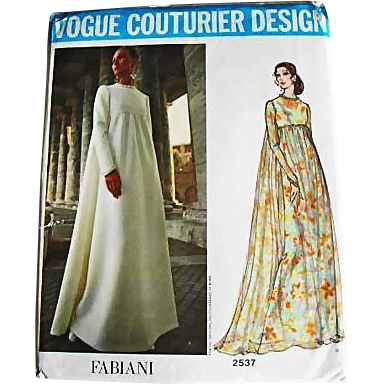 1970's FABIANI Vogue Couturier Design Pattern 2537, Misses' Empire Waist Evening Gown-Two Styles, Size 12, Bust 34, Uncut, RARE Vogue Couturier Label, Fashion