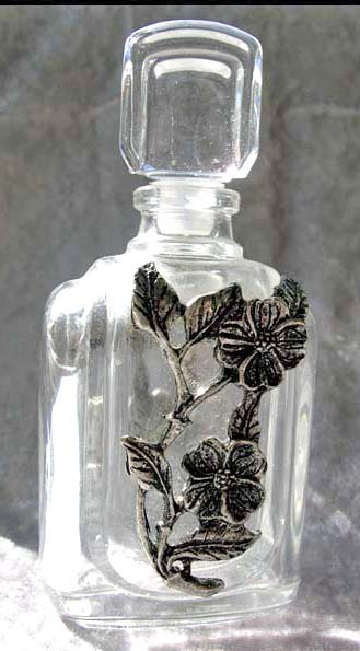 RARE 1960's French Crystal Perfume Bottle DESIGNER - Unused / Pewter Flowers / Made in France