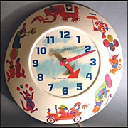 SCARCE 'Wee Winkie' 1960's Westclox Circus Wall Clock - Children / Model #313-W / Vintage