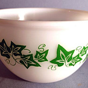RARE Vintage 'Milk Glass' Bowl, Green Ivy Leaf Pattern, Vintage, Kitchenware, Dining
