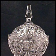 EXQUISITE  Vintage Pressed Glass Covered Candy Dish