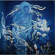 "EXQUISITE Cyanotype 'Nymph' by Judith Jaffe, Signed, Original Art, Female Nude, Botanical, Floral, Nature, ""Eve and her Sisters"" Series, One-of-a-Kind"